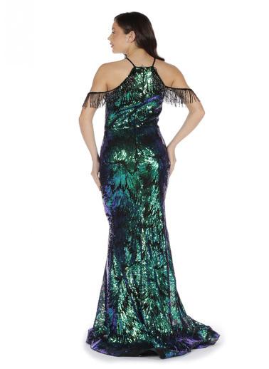 Pierre Cardin Payetli Omuzu Saçaklı Uzun Abiye Elbise Yeşil